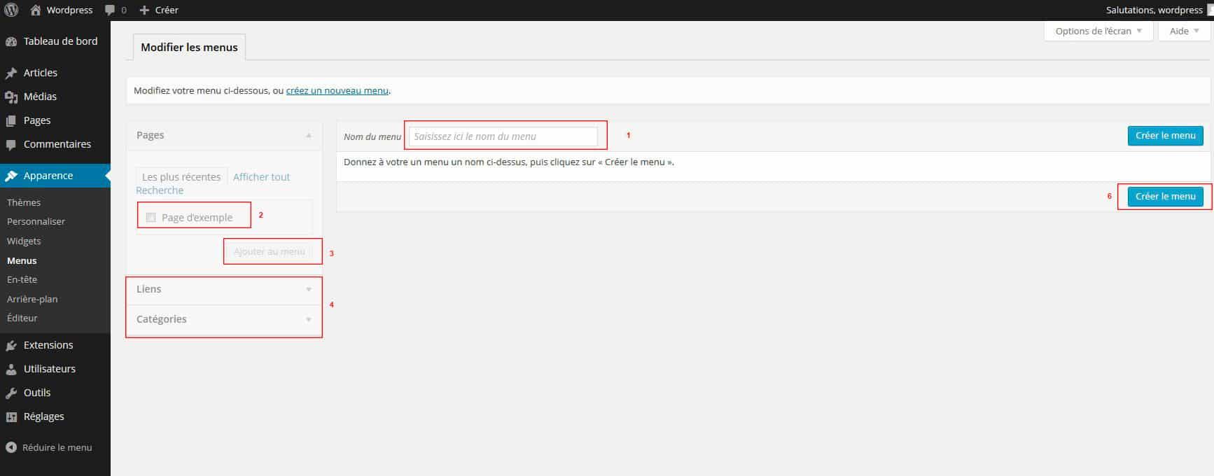 menu admin WordPress