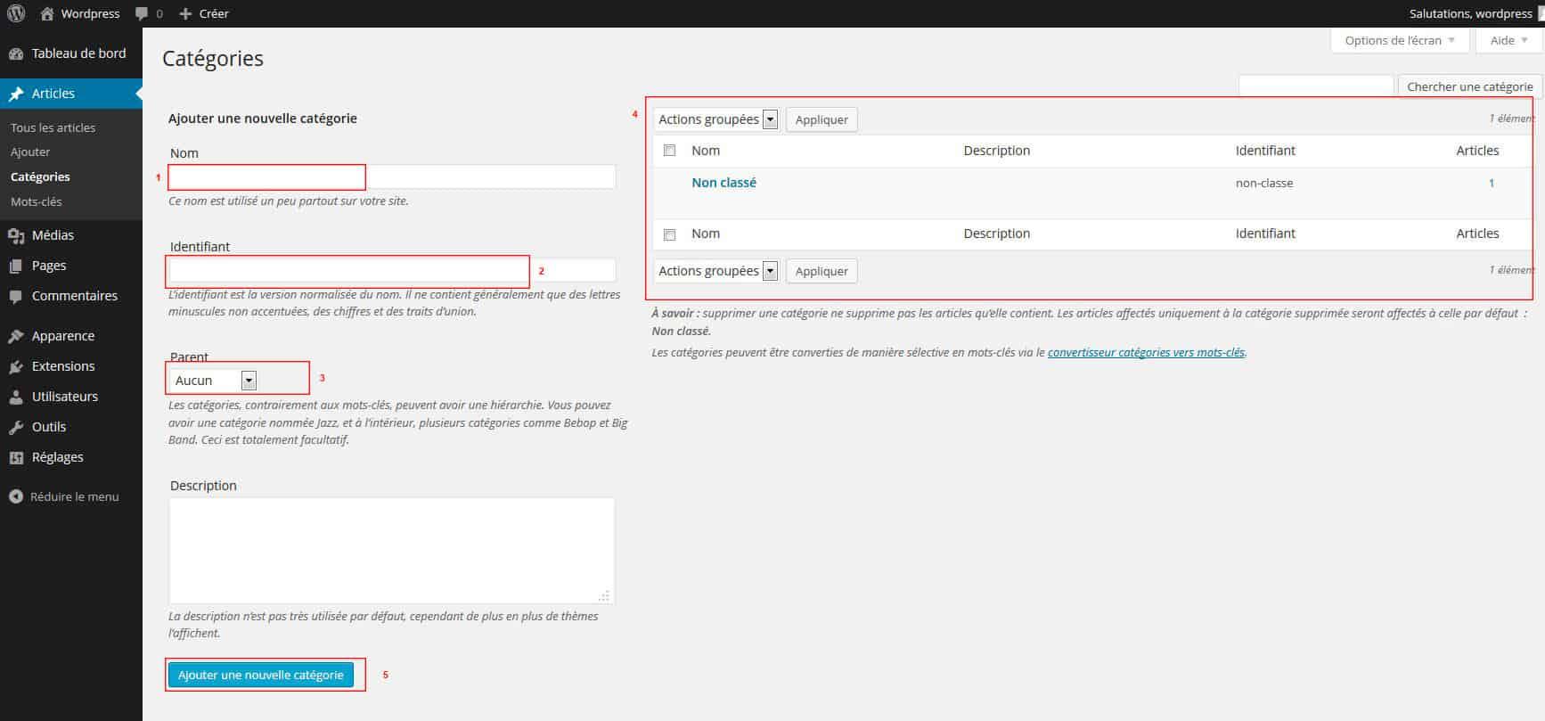 catégories admin WordPress